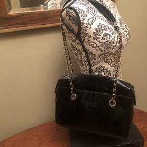 Elcanto Collection Vintage Croc Embossed PatentBag